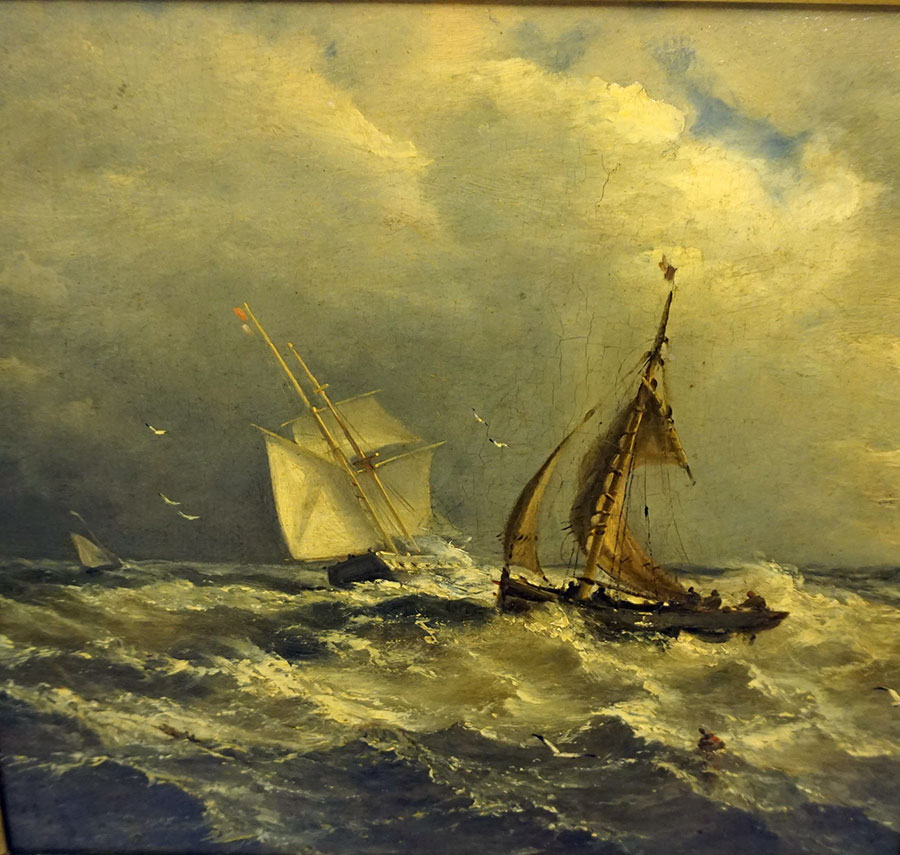 "John Moore's (British 19th century) ""Boats at Rough Sea"" oil on canvas"